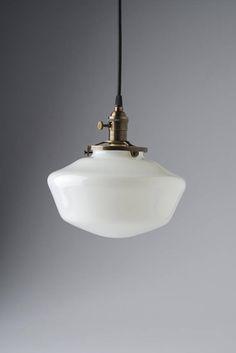 "10"" White Milk Glass Globe Schoolhouse Pendant Light Fixture"