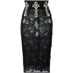 Stefano De Lellis embellished high waist lace pencil skirt ($1,007) ❤ liked on Polyvore featuring skirts, black, юбки, lacy skirt, high waisted pencil skirt, knee length lace skirt, lace skirt and high-waisted pencil skirts