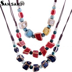 Cheap statement choker, Buy Quality choker necklace directly from China chain choker necklace Suppliers: Ethnic Style Handmade Irregular Ceramic Beads Rope Chain Choker Necklace Female Maxi Statement Choker Collar Jewelry Gift