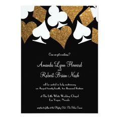 "Destiny Las Vegas Wedding Invite Faux Gold Glitter 5"" X 7"" Invitation Card 