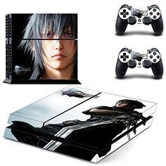 Playstation 4 + 2 Controller Aufkleber Schutzfolie Set - Final Fantasy XV /PS4