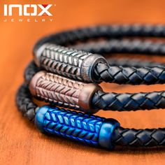 Give your customers the gift of subtle style with these men's braided leather bracelets from Inox #mensstyle #mensjewelry #mensfashion #wholesalejewelry #inox #leather