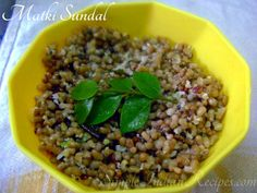 Matki Sundal - A south indian salad made with a non traditional ingredient, mothbeans. Indian Salads, Types Of Salad, Easy Indian Recipes, Chaat, Coconut Curry, Bean Salad, How To Make Salad, Pressure Cooking, Lunches And Dinners