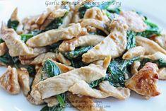 Healthy dinner idea: Garlic Spinach Chicken Stir Fry