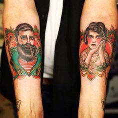 Tatuaje de marinero y camarera Ve más tatuajes en
