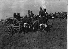 This pre-war photo shows a battery of 7.7cm Feldkanone 96 n.A. during field training exercise.  The Kaiser Maneuvers were the largest field exercise of the year involving multiple corps, usually attended by the Kaiser himself.