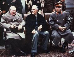 Churchill (Britain), Roosevelt (USA), Stalin (Russia).
