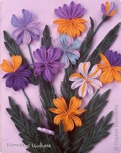 Картина панно рисунок День матери День рождения Квиллинг Простой букетик ирисов Бумага фото 1