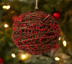 Berry Rattan Sphere Ornament | Pottery Barn
