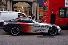 Wow that's some cool paint!  Blackredchrome Mercedes McLaren SLR