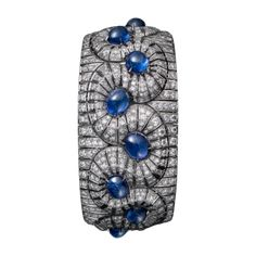 CARTIER High Jewelry bracelet Bracelet - platinum, twelve cabochon-cut sapphires from Burma totaling 35.44 carats, brilliant-cut diamonds.