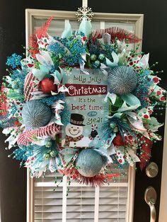 Holly Jolly Snowman Wreath Blue Christmas, Christmas 2019, Christmas Tree, Crafts To Do, Christmas Crafts, Diy Crafts, Holiday Ideas, Christmas Ideas, Christmas Decorations