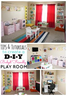 This is so cute! I absolutely love the little kitchen and waher and dryer... Tips & Tutorials to Create a DIY Budget Friendly Play Room #DIY