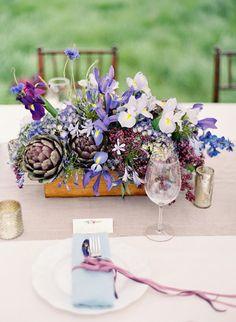Purple Wedding Centerpieces - Love the artichoke in the centerpieces