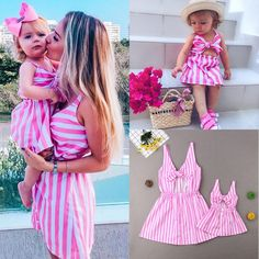 USA Mother&Daughter Dress Matching Mom Girl Stripe Bow Maxi Dress Family Clothes - Ideas of Womens Summer Clothes Mother Daughter Matching Outfits, Mother Daughter Fashion, Mommy And Me Outfits, Kids Outfits Girls, Matching Family Outfits, Kids Girls, Girl Outfits, Matching Clothes, Mom Daughter