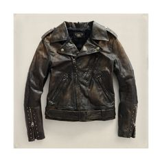 Ralph Lauren Rrl Leather Motorcycle Women's Jacket - Black - Size 1... ($704) ❤ liked on Polyvore