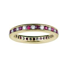 ORVIETO Channel Set Round Ruby & Diamond Full Eternity Ring in 18ct Yellow Gold 2.7mm - 3.3mm from Hatton Jewels