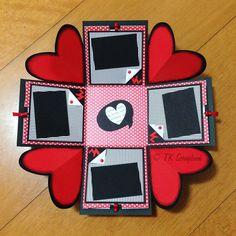 Visão geral da caixa explosion box aberta Scrapbook Box, Scrapbook Paper Crafts, Scrapbooking, Explosion Box, Diy Gift Box, Diy Box, Bf Gifts, Boyfriend Gifts, Pop Up Cards