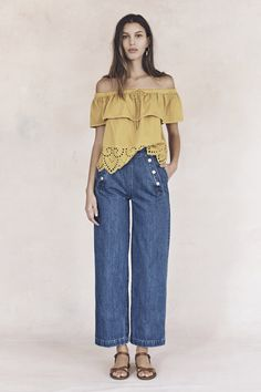 your sneak peek at madewell's spring 2016 collection: soft yellow off-the-shoulder eyelet top, wide leg cropped jeans + flat leather sandals. pre-order your favorites now by calling 866-544-1937 (434-385-5792 for our international friends) or email shopfirst@madewell.com to get first dibs  #everydaymadewell