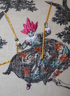 """Subversive Embroidery - The """"Historically Inaccurate"""" work of Richard Saja takes on an old, rather dull medium and goes nut all over it. See very proper Victorian ladies grow rainbow mohawks and gentlefolk perched on garden swings become festooned with clown-nosed, star-shaped, explosive fashions. All Image credits: Richard Saja"""