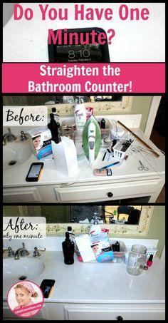 One Minute Bathroom Counter at ASlobComesClean.com