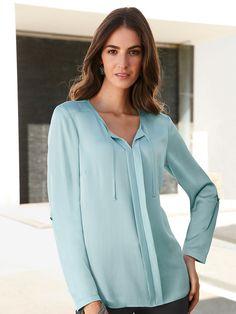 L ngere bluse mit kleinem stehkragen kleider pinterest bluse stehkragen und kleider - Peter hahn damenblusen ...