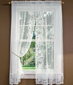 Floral Point Lace Rod Pocket Curtains $34.95 - $49.95.  |  ***Both this and the shower curtain come in off-white, also.