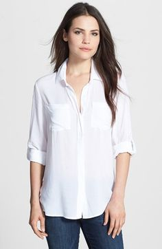 Sandra Ingrish Split Back Roll Sleeve Shirt (Regular & Petite) | Nordstrom