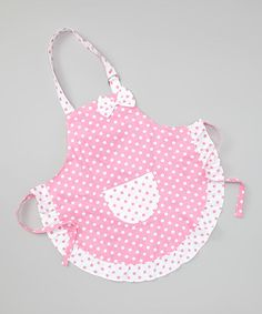 Take a look at this Pink Polka Dot Apron by Too Too Cute on #zulily today!