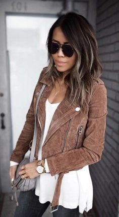 summer outfits  Brown Suede Jacket + White Top + Black Skinny Jeans