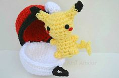 It's Pikachu in his Pokeball Pod home! This is an amigurumi crochet pattern to help you create a functional Pokeball that opens and closes. It'll be the perfect home to house your Pikachu or any other Pokemon you happen to collect!