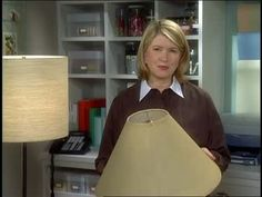 Martha Stewart and Cindy Treen make a lampshade from fabric and styrene to replace a worn-out shade.