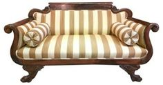 "Striped French Empire-Style Settee /  60"" Long x 23"" Wide x 33.5 High"