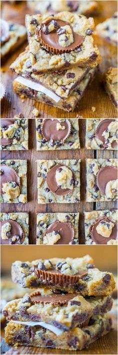 Two-Ingredient Peanut Butter Cup Chocolate Chip Cookie Dough Bars #recipe from /averie/