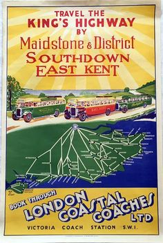 How lovely to explore Britain via long lost carriers and their fleets of gloriously vintage coaches! London Poster, Bus Coach, Vintage Coach, Britain, Coaching, Coastal, Victoria, Books, Posters