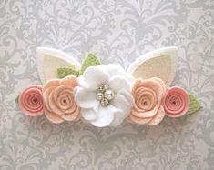 Bunny Ears Headband, Bunny Headband, Easter Baby Headband, Easter Flower Crown, Easter Headband, Felt Flower Crown, Baby Headband, Toddler