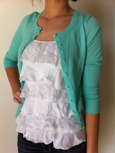 Ruffle Tanks are adorable layered under cardigans! It's just so.... Beautiful. I need to recreate this. Modest Outfits, Modest Fashion, Cute Fashion, Fashion Outfits, Womens Fashion, Fasion, Fashion Clothes, Fashion Ideas, Pretty Outfits