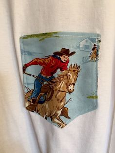 Womens Vintage Print Fabric Western Pocket T-shirt Size 2XL Horse  | eBay