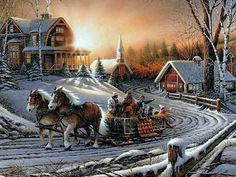 Artist: Terry Redlin Bundled up against the brisk Winter air, the family coasts down the snowy country road, on their way home from an early morning church service, in their horse drawn hay wagon. Christmas Scenes, Christmas Pictures, Christmas Art, Snow Scenes, Winter Scenes, Winter Pictures, Art Pictures, Terry Redlin, Dashing Through The Snow