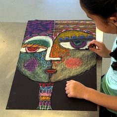 Self-Portraits Sandra Silberzweig inspired self portraits from small hands big art - a fun chalk pastel art lesson!Sandra Silberzweig inspired self portraits from small hands big art - a fun chalk pastel art lesson! Pastel Art, Kids Art Class, Art, Childrens Art