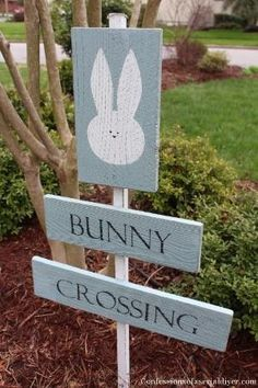 Bunny Crossing Sign from Old Fence Pickets by gabriela