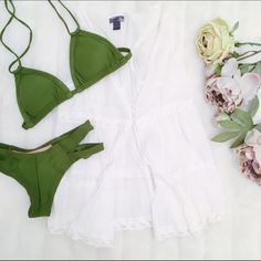 🌿HOST PICK🌿 Sheer open white top Get the perfect beachy, boho look with this white cotton top. Wear over a bikini or crop top for an easy summer look. Beautiful embroidery detailing. The front is open aside from 3 small closures in the middle. Racer back. Lace photo for inspiration only Poetry Tops