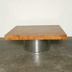 Burl Patchwork & Chrome Coffee Table $3250...........We offer a wide variety of furniture and accessories. We are located in the Dallas Design District. We can ship to any location in the US. visit us at www.againandagain.com  www.facebook.com/againdesign