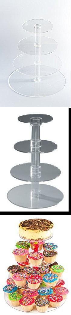 Clear Cupcake Stand. Utenlid 4-Tier Stacked Party Cupcake and Dessert Tower - Clear Acrylic Cake Stand.  #clear #cupcake #stand #clearcupcake #cupcakestand