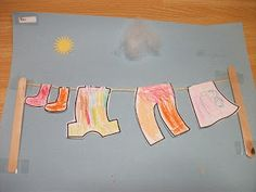 "Preschool Crafts for Kids*: Hanging Laundry Clothes Paper Craft for ""getting dressed"" themed storytime"