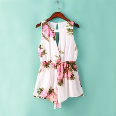 summer cute chiffon floral romper womens Summer playsuits jumpsuit open back