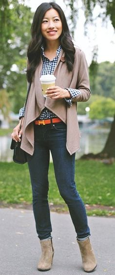 #fall #trending #outfits | Taupe + Gingham