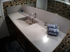 Concrete ramp sink, concrete backsplash.  Featured 9/27/13. Art Of Concrete in Encino, CA.