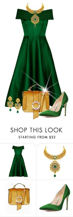 """Under the Mistletoe"" by shamrockclover ❤ liked on Polyvore featuring GREEN, dress and emerald"
