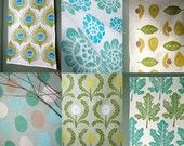 Blue and Green Linen Tea Towel Collection of 6 . . check out Pat's tea towels at Giardino on Etsy...Beautiful!